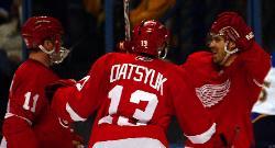 Detroit celebrates their first goal (Bill Greenblatt, UPI)