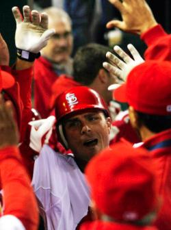 Ankiel celebrates his 1st HR of the year