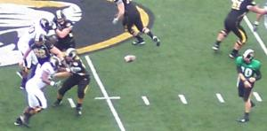 Chase Daniel completes a pass at the Black and Gold game