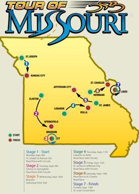 2008 Tour of Missouri map