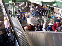 escalators at Shea Stadium