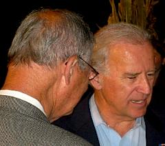 Democratic VP candidate Joe Biden confers with Congressman Ike Skelton