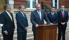 Governor-elect Jay Nixon with legislative leaders (l-r: Representative Ron Richard, Senator Charlie Shields, Governor-elect Nixon, Senator Victor Callahan, Representative Paul LeVota)