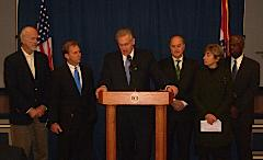 Nixon transition team: (l-r Philip Snowden, John Watson, Governor-elect Jay Nixon, Charles Burson, Nadia Cavner, Ronnie White)