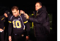 An emotional Gary Pinkel on Senior Day (Bill Greenblatt, UPI)