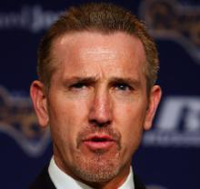 Steve Spagnuolo meets the St. Louis media (Bill Greenblatt, UPI)