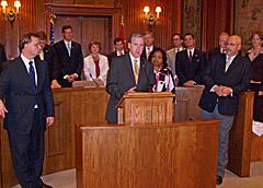 End of session Senate news conference: (front row l-r) Senate Minority Leader Victor Callahan, Senate President Pro Tem Charlie Shields, Senator Rita Days, Senate Majority Floor Leader Kevin Engler