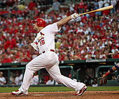 Matt Holliday blasts 3-run homer (UPI/Bill Greenblatt)