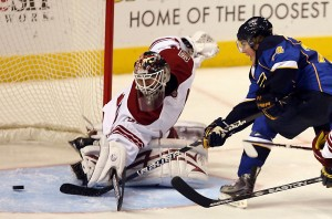 TJ Oshie slids in the tying goal.  Bill Greenblatt, UPI