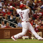 Pujols connects for a home run in August.  Bill Greenblatt UPI