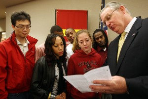 Governor Nixon discusses tuition decision with UMSL students (UPI / Bill Greenblatt)
