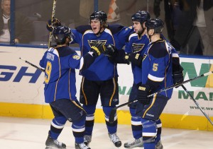 TJ Oshie celebrates his goal with teammates, Bill Greenblatt UPI St. Louis