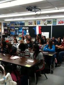 Students attending Jefferson City High School French class