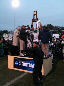 Northwest Missouri's Brock Houston lifts National Championship Trophy