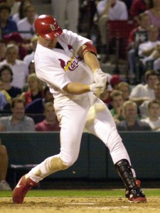 McGwire connects for a single back in 2000 (Bill Greenblatt, UPI)