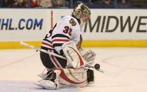 Chicago Blackhawks goaltender Cristobal Huet makes a stick save during the first period against the St. Louis Blues at the Scottrade Center in St. Louis on January 2, 2010.    UPI/Bill Greenblatt