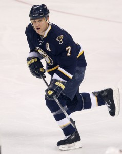 St. Louis Blues Keith Tkachuk skates towards the puck during the third period against the Columbus Blue Jackets at the Scottrade Center in St. Louis on January 30, 2010.  Columbus defeated St. Louis 3-2 in overtime.    UPI/Bill Greenblatt