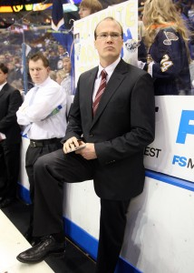 St. Louis Blues new head coach Davis Payne watches the Chicago Blackhawks warmup before a game at the Scottrade Center in St. Louis on January 2, 2010. Payne takes over for Andy Murray who was fired after posting a 17-17-6 record for the year. Payne (39) comes to St. Louis from the Peoria Rivermen, the minor league team for the Blues, where he was head coach there. Payne becomes the 23rd head coach for St. Louis in their history    UPI/Bill Greenblatt