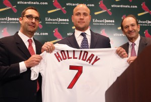 John Mozeliak, Matt Holliday and Bill DeWitt JR.  (Bill Greenblatt, UPI)