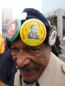 Participant Norbert Cody gets ready to march through the streets of St. Louis from the Old Courthouse during the Martin Luther King Day march in St. Louis on January 18, 2010.  Photo by UPI/Bill Greenblatt