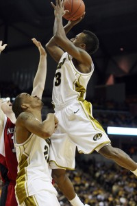 Missouri Tigers Miguel Paul (3) drives the basket for two points against the Nebraska Cornhuskers at the Mizzou Arena in Columbia, Missouri on January 23, 2010.  Missouri defeated Nebraska 70-53. UPI/Bill Greenblatt