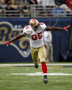 San Francisco 49ers Vernon Davis does a celebratory dance after scoring a touchdown in the fourth quarter against the St. Louis Rams at the Edward Jones Dome in St. Louis on January 3, 2010. San Francisco won the game 28-6.   UPI/Bill Greenblatt