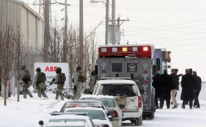 Police move in after gunman opens fire at ABB in north St. Louis (UPI / Bill Greenblatt)