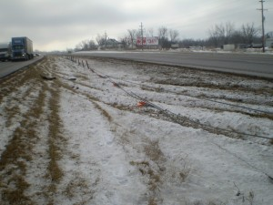 Cables and posts down in I-70 median in Warren County. (courtesy MODOT)