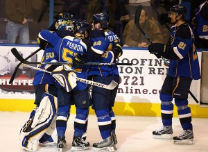 St. Louis Blues celebrate with goalie Chrtis Mason whom just make the game winning save in during the first round of  shoot outs at the Scottrade Center in St. Louis on FEBRUARY 9 2010. UPI/John Boman Jr