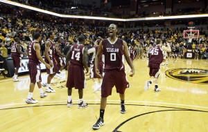 Missouri Tigers Zaire Taylor (11) shoots the basketball up and over Texas A&M Aggies B.J. Holmes in the first half at the Mizzou Arena in Columbia, Missouri on February 3, 2010. UPI/Bill Greenblatt