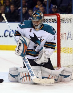 Sharks goalie Thomas Greiss takes one to the gut (Bill Greenblatt, UPI)