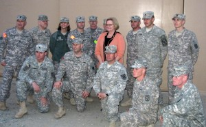 Sen. McCaskill with troops in Kuwait.