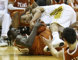 Missouri Tigers Keith Ramsey (top) and Texas Longhorns Alexis Wangmene fight for control of the basketball in the first half at the Mizzou Arena in Columbia, Missouri on February 17, 2010. Missouri won the game 82-77.    UPI/Bill Greenblatt