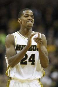 Missouri Tigers Kim English claps with joy in the last minute against the Texas Longhorns at the Mizzou Arena in Columbia, Missouri on February 17, 2010. English had 18 points as the Tigers defeated the Longhorns, 82-77.     UPI/Bill Greenblatt