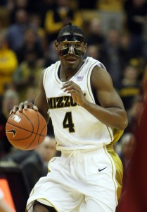 Missouri Tigers J.T. Tiller brings the basketball up court against the Iowa State Cyclones, wearing a face guard in the first half at the Mizzou Arena in Columbia, Missouri on February 10, 2010. Tiller suffered a broken nose in last weeks game at Colorado.  UPI/Bill Greenblatt