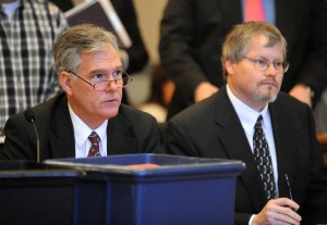 Cole County prosecutor, Mark Richardson, left, and defense attorney, Don Catlett, one of two public defenders assigned to the Alyssa Bustamante's murder case, were all in court Tuesday morning for a change of venue hearing. Photo courtesy Julie Smith / Jefferson City News Tribune