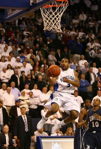 St. Louis Billikens Kwamain Mitchell drives past Xavier  Musteteers Mark Lyons in the final seconds of the close game, for a final score of Xavier 73 St. louis 71 at the Chaifetz Arena in St. Louis on February 24, 2010.    UPI/John Boman Jr