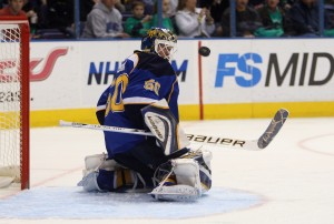 Chris Mason makes one of the few saves he actually did make in the Blues 5-3 loss.  Bill Greenblatt UPI St. Louis