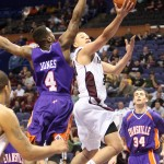 Missouri State Bears Kyle Weems drives for a layup.  UPI/Bill Greenblatt
