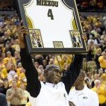 Missouri Tigers J.T. Tiller holds up his uniform shirt presented to him on Senior Day before the last home game against the Kansas Jayhawks at the Mizzou Arena in Columbia, Missouri on March 6, 2010. Kansas won the game 77-56.  UPI/Bill Greenblatt