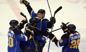 St. Louis Blues Erik Johnson is congratulated by teammates after scoring the winning goal in overtime against the Columbus Blue Jackets. UPI/Bill Greenblatt