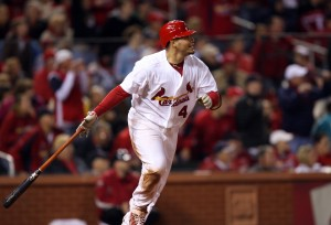 Molina watches his go ahead double in the eighth inning.  UPI/Bill Greenblatt
