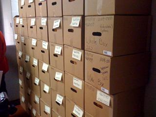 Boxes containing the abandoned deposit boxes, which a spokesman says accounts for about 1% of the unclaimed property holdings