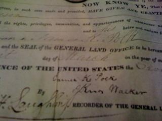 A land contract signed by James K Polk