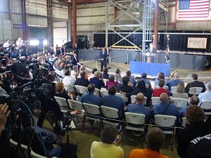 President Obama speaks to a group of employees at Poet Biorefining in Macon; as well as numerous state leaders including Gov. Jay Nixon, Attorney General Chris Koster, and Secretary of State Robin Carnahan