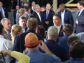 President Obama visits with the crowd following his speech
