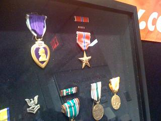 A Purple Heart and a Bronze Star, among the many military medals found in the safe deposit boxes