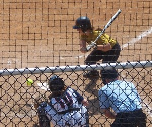 MU's Nicole Hudson takes a ball from Illinois Pepper Gay in the 7th inning.  (Bill Pollock photo)