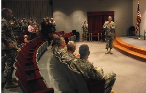 Adjutent General Steve Danner addresses the six National Guard MPs who are headed to Iraq just before they receive their official orders to deploy.