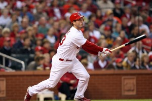 David Freese watches his first inning triple.  UPI/Bill Greenblatt
